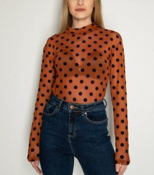 21st Mill Rust Spot Mesh Top New Look