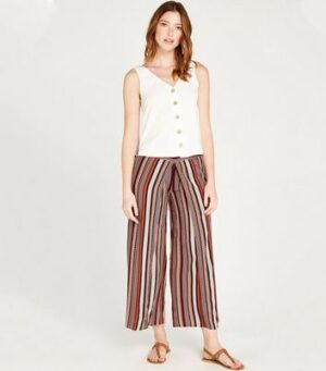 Apricot Rust Tile Print Wrap Wide Leg Trousers New Look