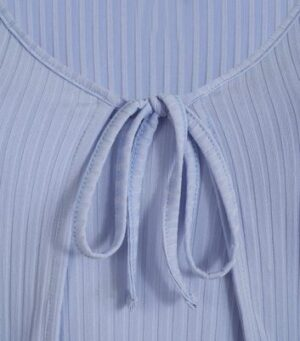 Pale Blue Ribbed Tie Front Cardigan and Cami Set New Look