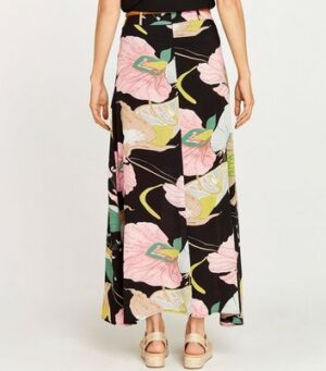 Apricot Black Floral Print Belted Maxi Skirt New Look