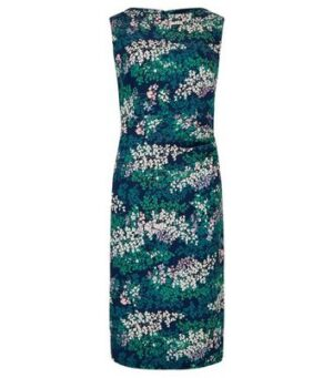 Apricot Blue Floral Side Ruched Dress New Look