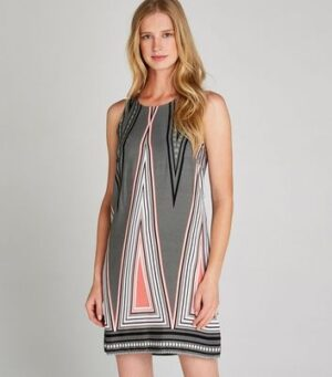 Apricot Grey Geometric Triangle Shift Dress New Look