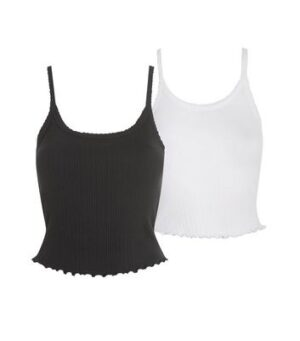 2 Pack Black and White Ribbed Frill Trim Camis New Look