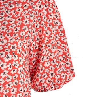 Red Floral Puff Sleeve Midi Dress New Look