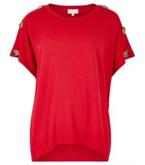 Apricot Red Button Shoulder Top New Look