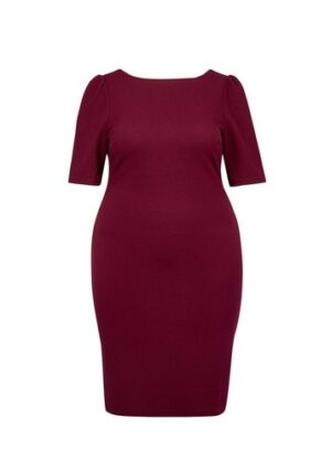 Womens Dp Curve Berry Red Textured Bodycon Dress, Red