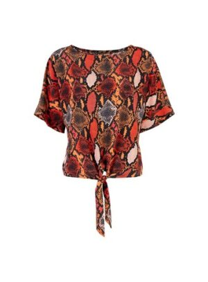 Womens Multi Colour Snake Print Top - Orange, Orange
