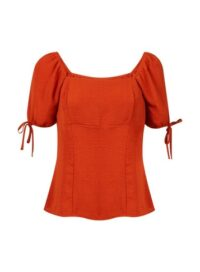 Womens Rust Square Neck Top - Red, Red