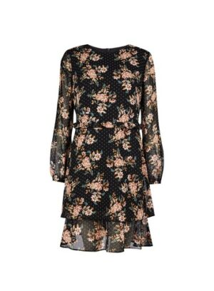 Womens Black Floral Print Ruffle Fit And Flare Dress, Black