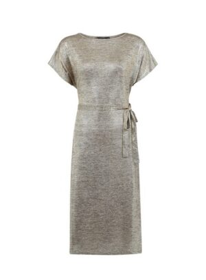 Womens Gold Shimmer Belted Midi Dress, Gold