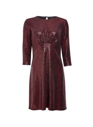 Womens Red Sequin Empire Fit And Flare Dress, Red