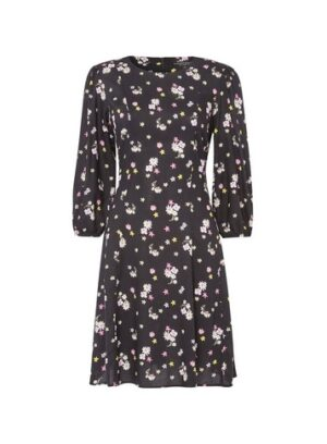 Womens Black 3/4 Sleeve Fit And Flare Dress, Black