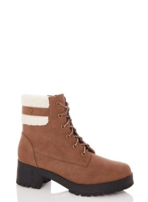 Womens Quiz Tan Faux Fur Lace Ankle Boots - Brown, Brown