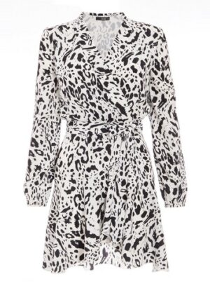 Womens Quiz White Animal Print Wrap Shirt Dress, White