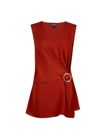 Womens Tall Rust Buckle Side Top - Red, Red