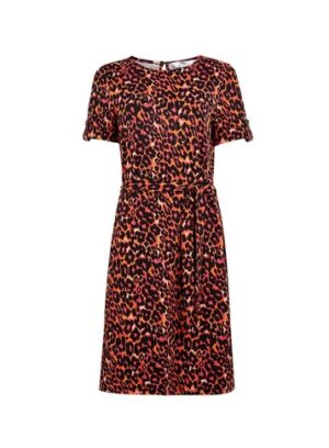Womens Tall Multi Colour Animal Print T-Shirt Dress, Multi Colour