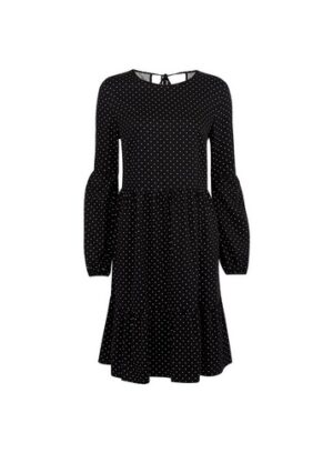 Womens Tall Black Spot Print Smock Dress, Black