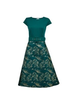Womens Luxe Green Belted Jacquard Midi Dress, Green