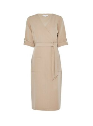 Womens Lily & Franc Stone Wrap Roll Sleeve Midi - Brown, Brown