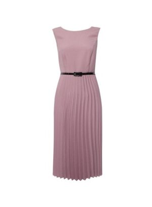 Womens Luxe Pink Pleated Belted Dress, Pink