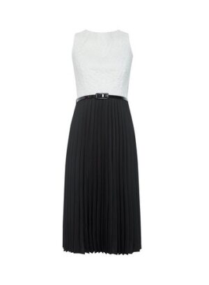 Womens Luxe Monochrome Embroidered Pleated Midi Dress - Multi Colour, Multi Colour