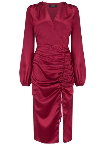Womens Girls On Film Burgundy Ruched Midi Dress - Red, Red