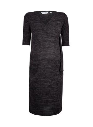 Womens Dp Maternity Charcoal Brushed Wrap Dress - Grey, Grey