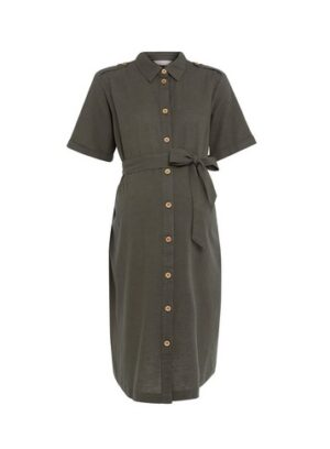 Womens Dp Maternity Khaki Utility Dress, Khaki