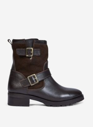 Womens Brown 'Orca' Leather Biker Boots - Chocolate, Chocolate
