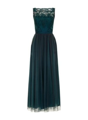 Womens Chi Chi London Green Embroidered Bodice Maxi Dress, Green