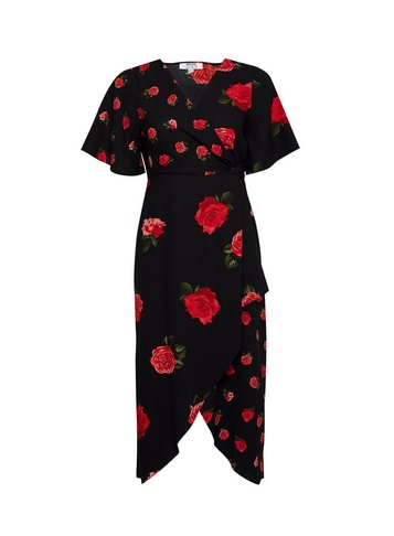 Womens Dp Petite Black Mix And Match Rose Print Midi Dress, Black