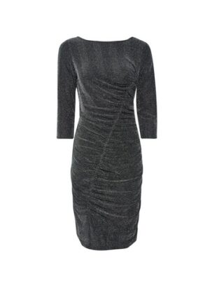 Womens Silver Ruched Bodycon Dress, Silver