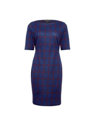 Womens Navy And Red Check Print Bodycon Dress - Blue, Blue