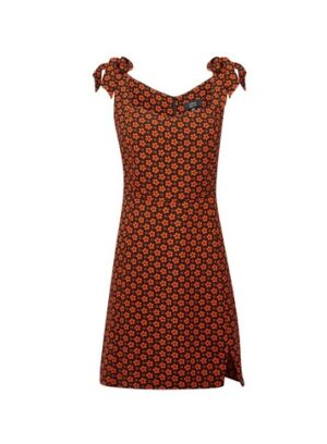 Womens Lola Skye Multi Colour Floral Print Shoulder Bow Dress - Orange, Orange