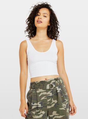 Womens 3 Pack Black, White And Khaki Voop Neck Crop Top, BLACK