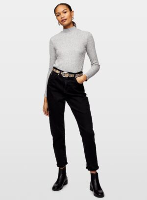 Womens Grey Long Sleeve Brushed Funnel Neck Top, GREY