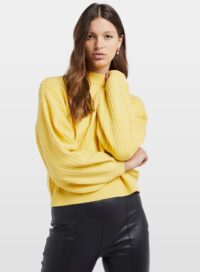 Womens Yellow Long Sleeve Knitted Jumper, YELLOW