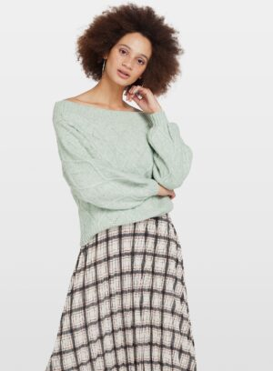Womens Green Bardot Jumper With Recycled Polyester Yarn, GREEN