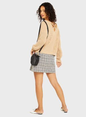 Womens Tan Ring Back Detail Knitted Jumper, CAMEL