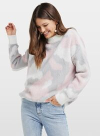 Womens Pink Camouflage Print Knitted Jumper, PALE PINK