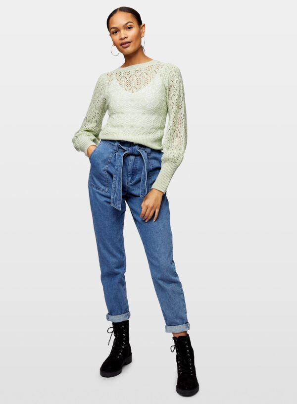 Womens Pale Green Pointell Frill Knitted Jumper, GREEN