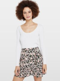Womens Cream Tie Back Ribbed Knitted Top, Cream