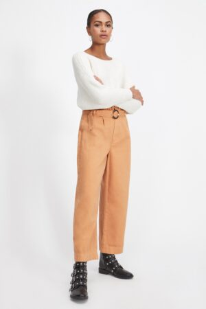 Womens Rust Frill Top Belted Crop Trousers, RUST