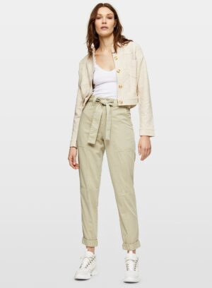 Womens Sage Belted Fly Front Casual Trousers, PALE GREEN