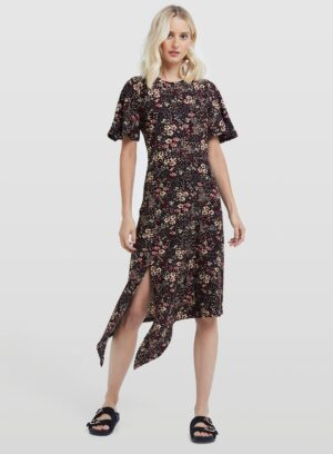 Womens Black Floral Asymmetric Hem Midi Dress, BLACK