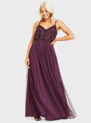 Womens Petite Burgundy Double Layer Embellished Maxi Dress, BURGUNDY