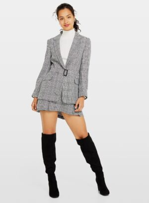 Womens Black Alma Monochrome Check Print Belted Blazer, BLACK