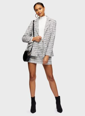 Womens Ivory Double Breasted Boucle Blazer, IVORY