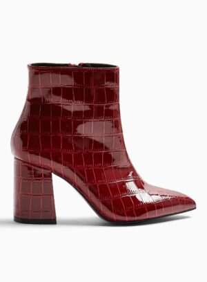 Womens Abi Red Pointed Ankle Boots, RED