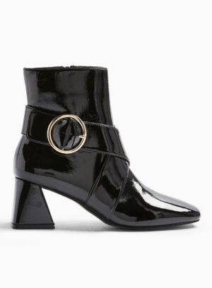 Womens Babe Black Square Toe Buckle Boots, BLACK